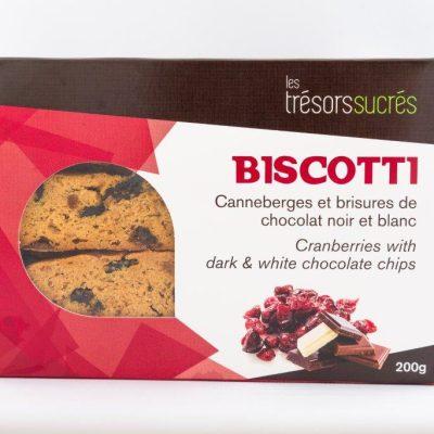 Biscotti Canneberges et brisures de chocolat noir et blanc - Trésors sucrés